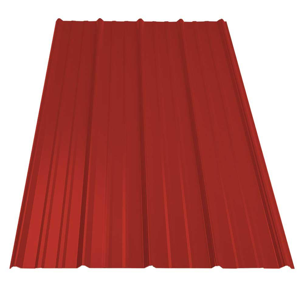 7b74131c33 8 ft. SM-Rib Galvanized Steel 29-Gauge Roof Panel in Barn Red-13562 ...