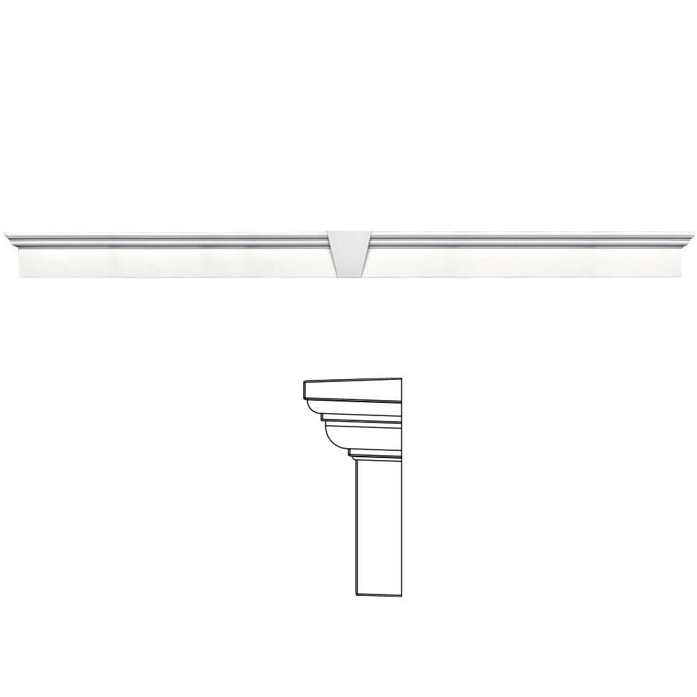 Builders Edge 9 in. x 128 in. Flat Panel Window Header with Keystone in 117 Bright White