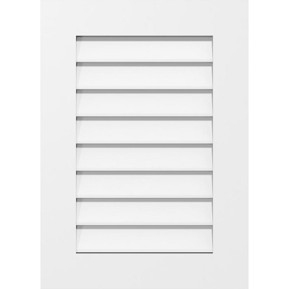 Ekena Millwork 12 In X 22 In Rectangular White Pvc Paintable Gable Louver Vent Non Functional Gvpve12x2201sn The Home Depot
