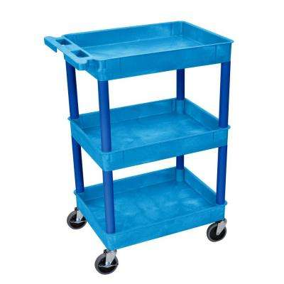 18 in. x 24 in. 3-Tub Shelf Utility Cart, Blue