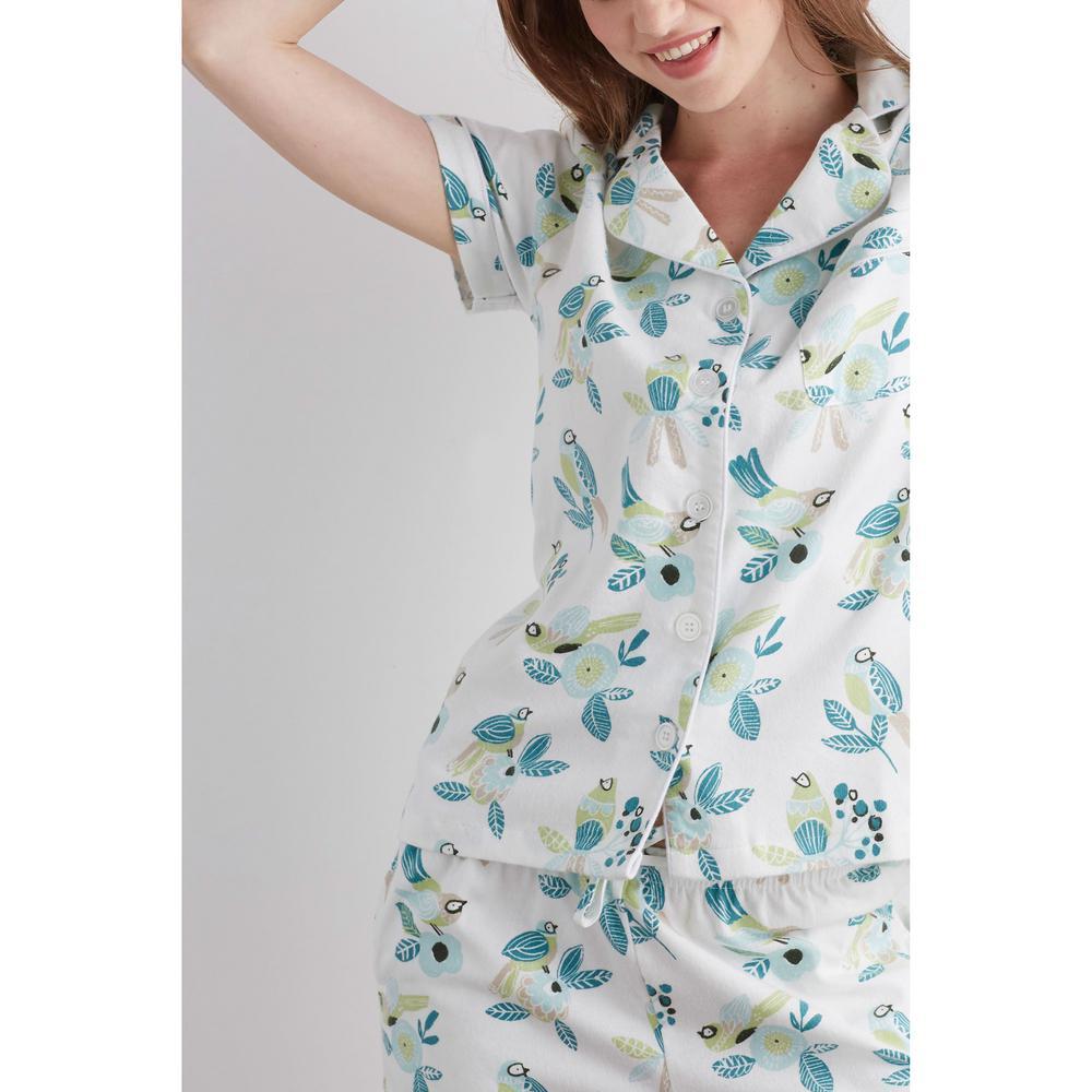 4021587151 The Company Store-Cotton Flannel Women's Medium Birds Pajama Short Set