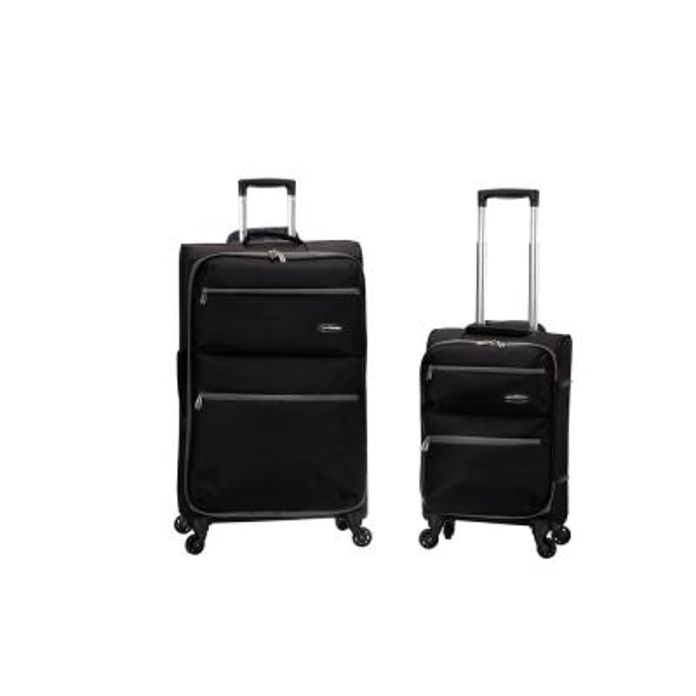 Gravity 2-Piece Light Weight Softside Luggage Set, Black