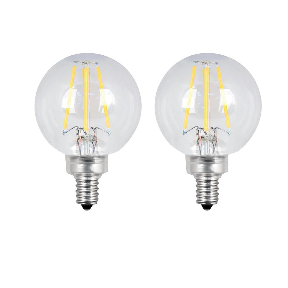 40-Watt Equivalent G16.5 Candelabra Dimmable Filament LED ENERGY STAR Clear