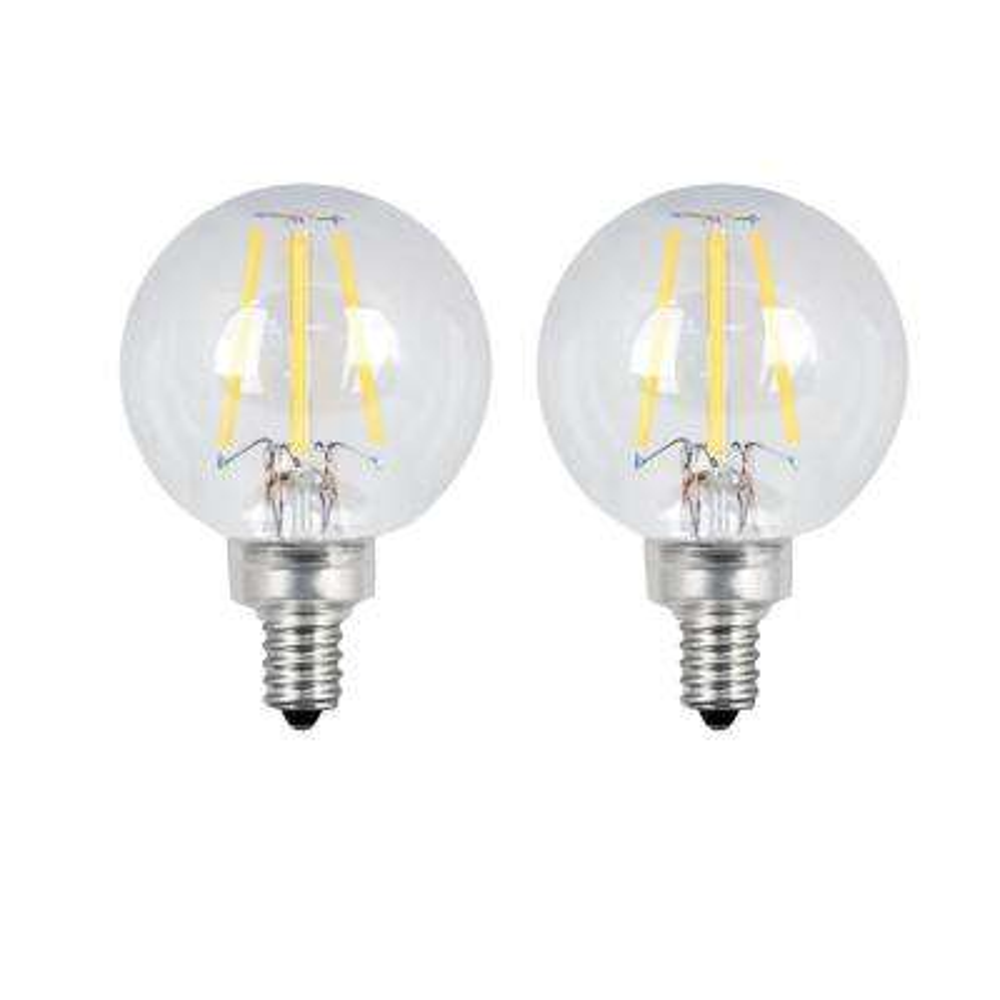40-Watt Equivalent G16.5 Candelabra Dimmable Filament ENERGY STAR Clear Glass LED Light Bulb, Soft White (2-Pack)