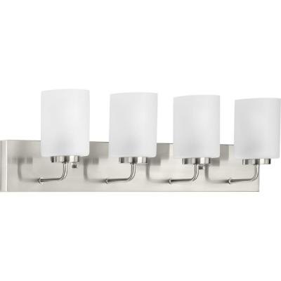 Merry  4-Light Brushed Nickel Etched Glass Transitional Bath Vanity Light