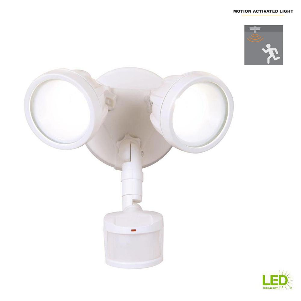 180-Degree White Motion Activated Sensor Twin-Head Round Outdoor Integrated LED