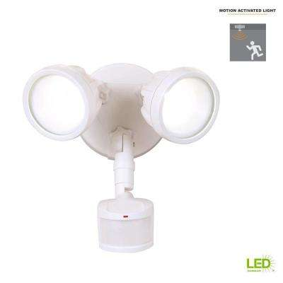 180-Degree White Motion Activated Sensor Twin-Head Round Outdoor Integrated LED Security Flood Light