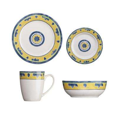 Peony Collection 16-Piece Dinnerware Set in White