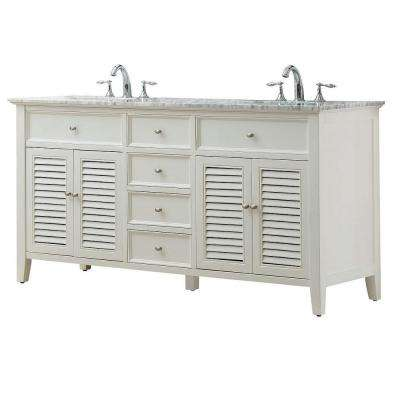 Shutter 70 in. Double Vanity in Pearl White with Marble Vanity Top in Carrara White