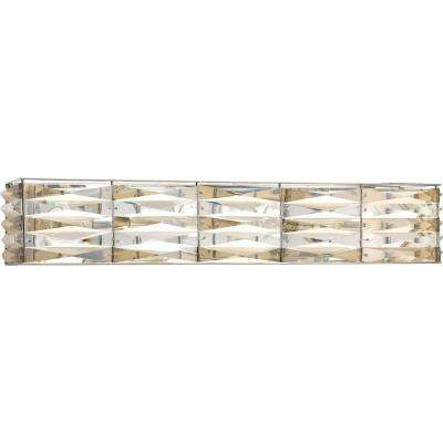 The Pointe Collection 4-Light Polished Chrome Bathroom Vanity Light with Clear And Champagne Glass