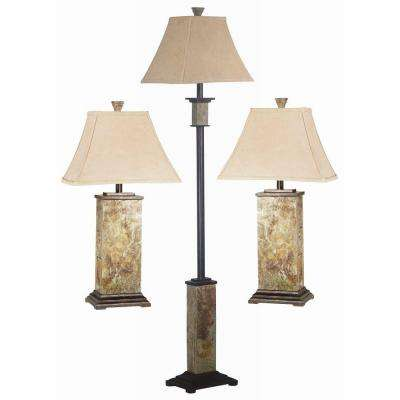 Lamp sets lamps the home depot bennington 29 in natural slate 2 table and 1 floor lamp set 1 mozeypictures Images