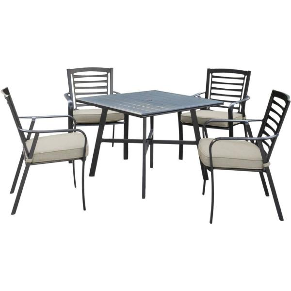 Pemberton 5-Piece Commercial-Grade Aluminum Outdoor Bistro Set with Ash Cushions, 4-Dining Chairs and Slat-Top Table