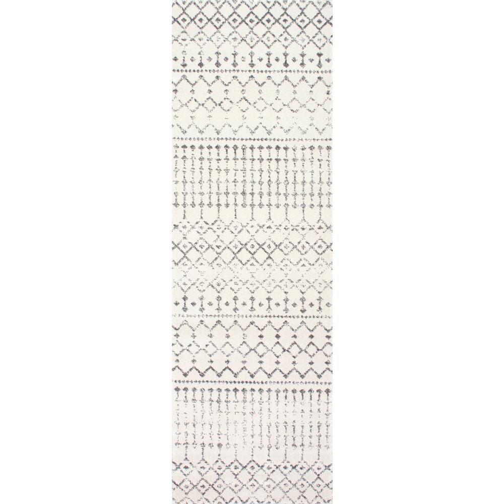Blythe Modern Moroccan Trellis Gray 3 ft. x 12 ft. Runner