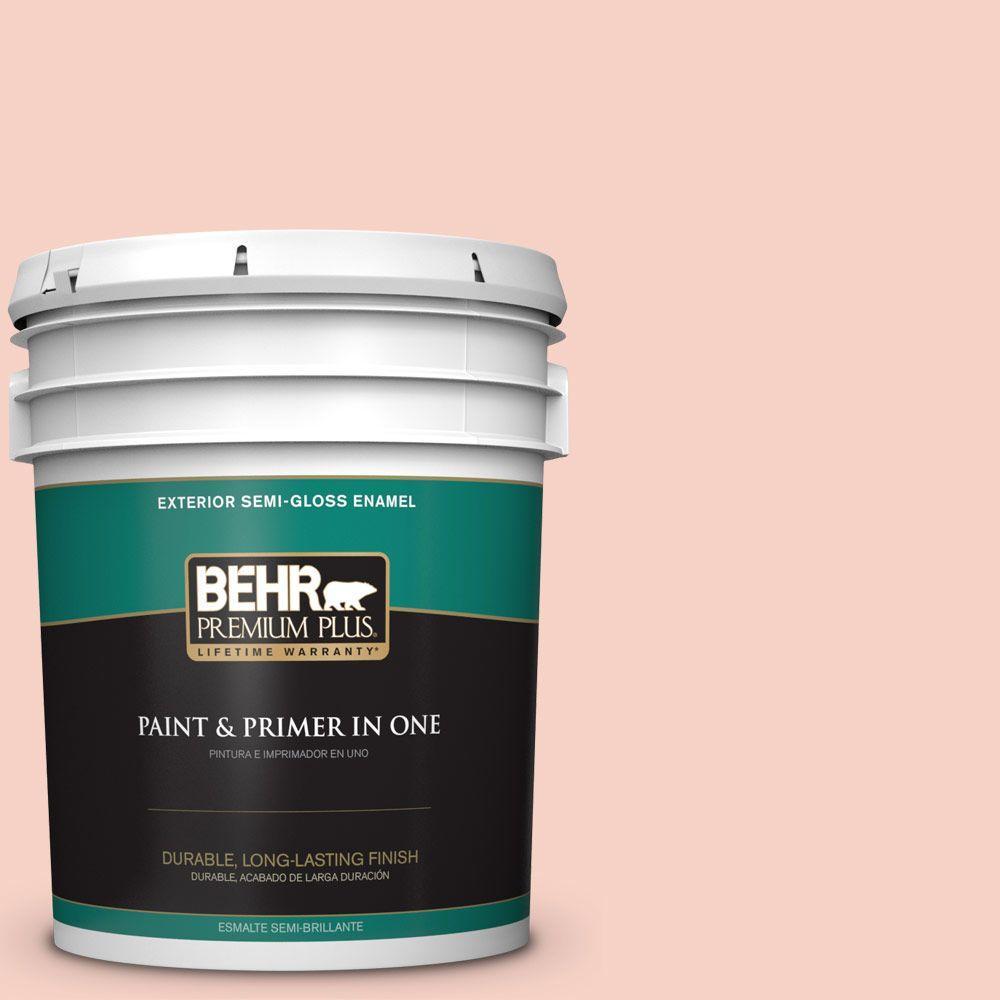 BEHR Premium Plus 5-gal. #210C-2 Demure Pink Semi-Gloss Enamel Exterior Paint