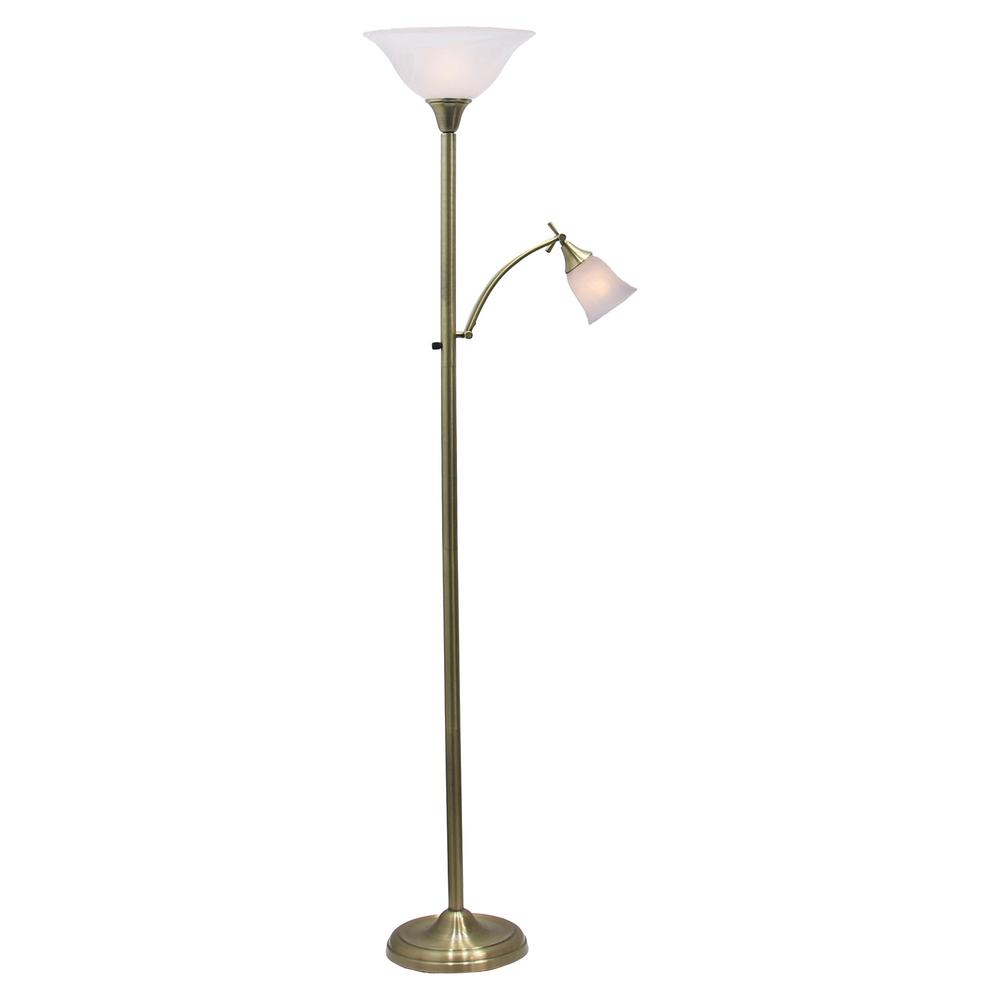 72 in. Mother/Daughter Antique Brass Floor Lamp