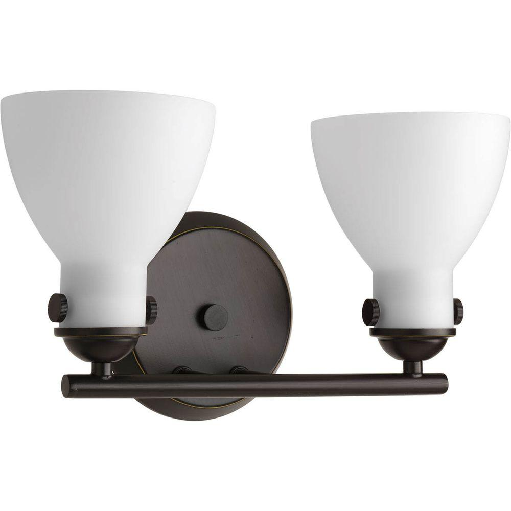 Fuller Collection 2-Light Antique Bronze Vanity Light with Etched Opal Glass