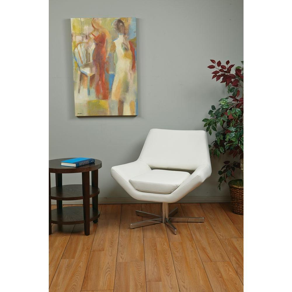 Ave Six Yield White Faux Leather Office Chair