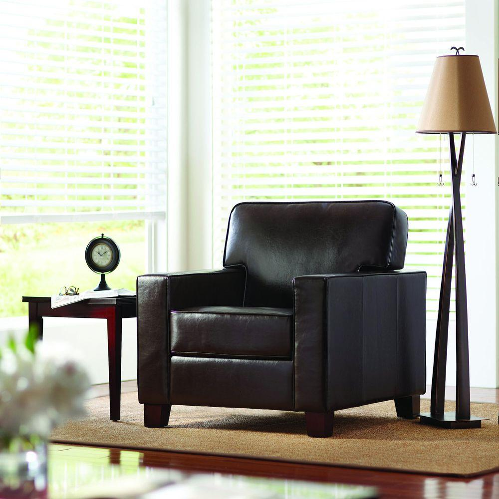 Home Decorators Collection Brexley Leather Club Chair in Espresso