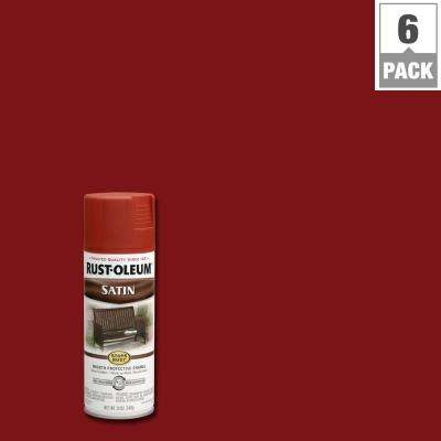 12 oz. Protective Enamel Satin Redwood Spray Paint (6-Pack)