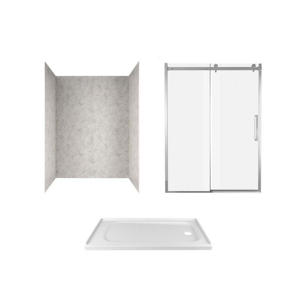 American Standard Passage 60 in. x 72 in. 3-Piece Glue-Up Alcove Shower Wall, Door and Base Kit with Right Drain in Platinum Marble