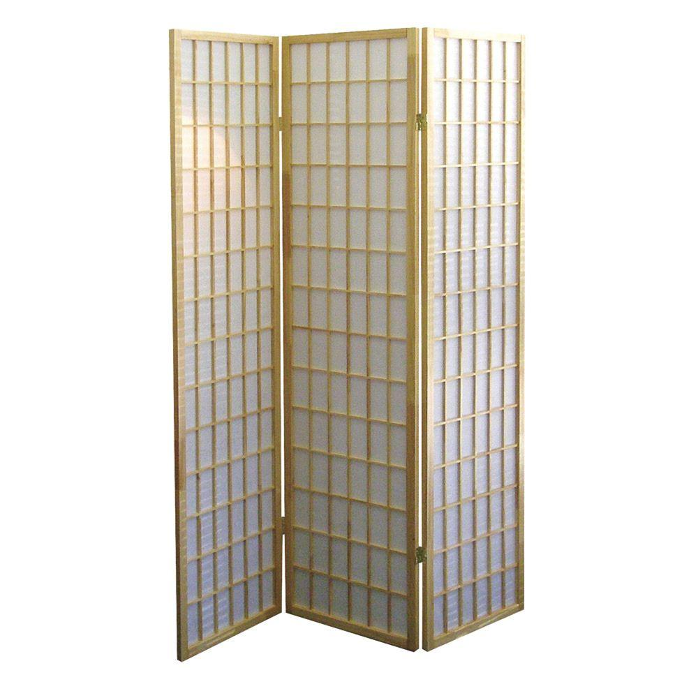 Home Decorators Collection 5.83 ft. Natural 3-Panel Room Divider