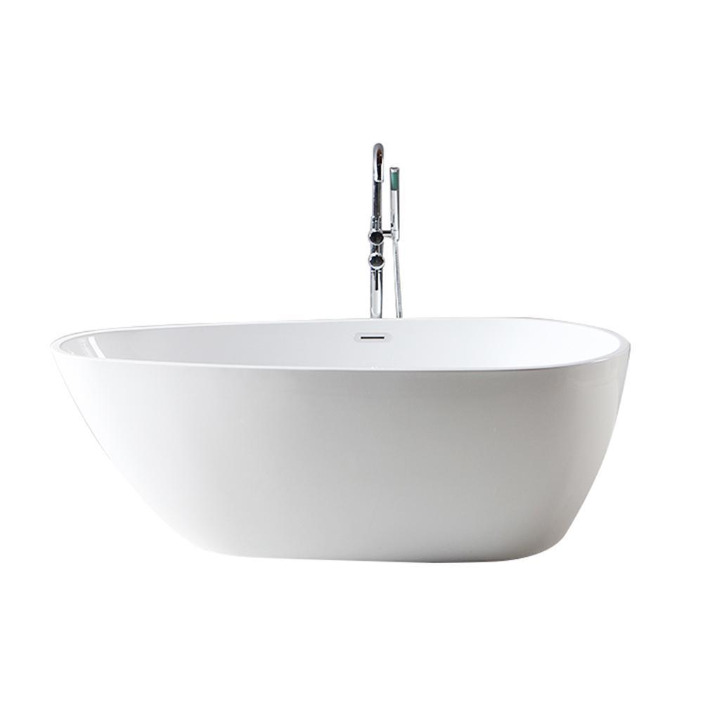 Dyconn Maria 59 in. Acrylic Flat-Bottom Non-Whirlpool Bathtub with ...
