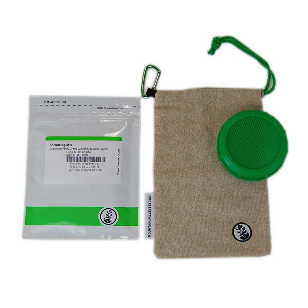 Mountain Valley Seed Company Hemp Sprout Sack, Sprouts, Organic Sprouting Seed Mix Mountain Valley Seeds Trail Sprouting Bag Combo Kit