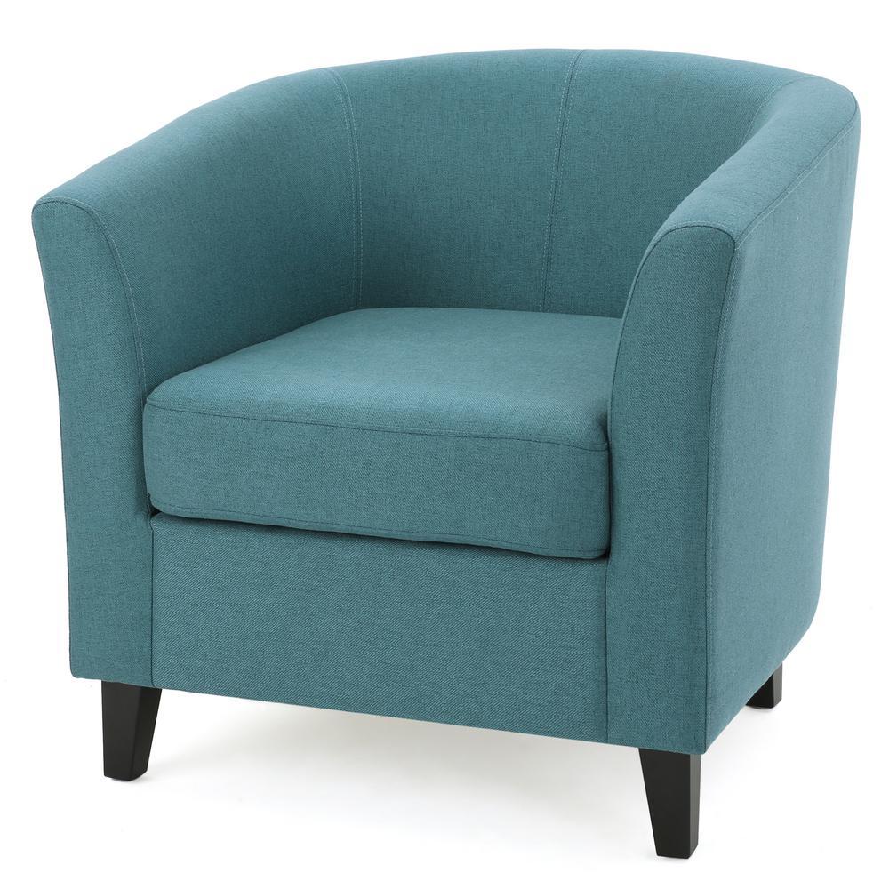 Noble house preston dark teal fabric low back club chair - Dark teal accent chair ...