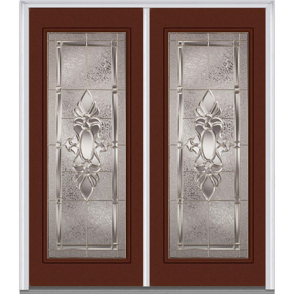 64 in. x 80 in. Heirloom Master Left-Hand Inswing Full Lite Decorative Glass Painted Steel Prehung Front Door