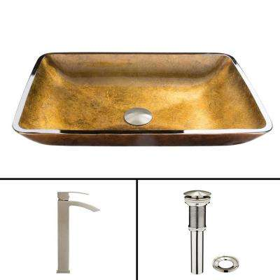 Glass Vessel Sink in Copper and Duris Faucet Set in Brushed Nickel