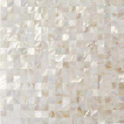 Mother of Pearl White Square Pearl Shell Mosaic Floor and Wall Tile - 3 in. x 6 in. Tile Sample