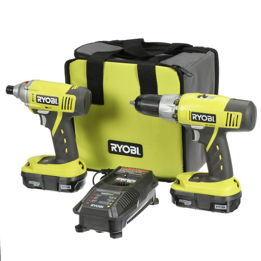 RYOBI RYOBI 18-Volt ONE+ Lithium-Ion Cordless Drill/Driver and Impact Driver Kit (2-Tool)