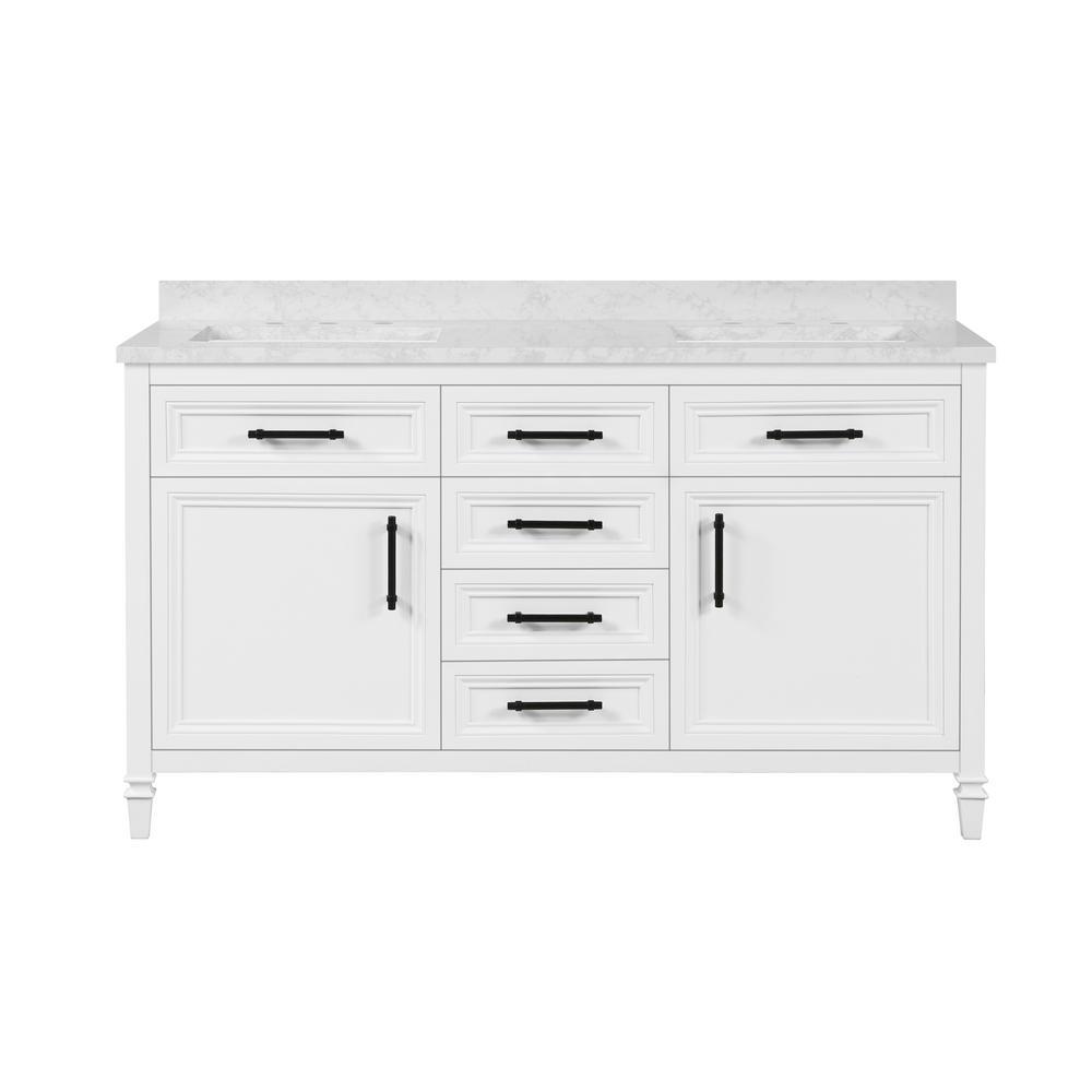 Aiken 60 in. W x 22 in. D Bath Vanity in White with Cultured Marble Vanity Top in White with white Basins