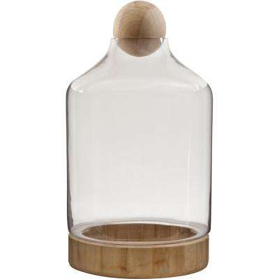 Vidro 10 in. W x 19 in. H Glass Terrarium with Wood Dish and Stopper