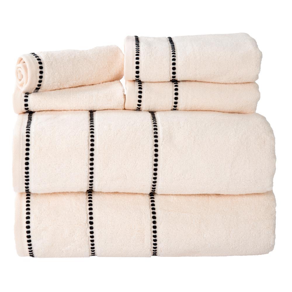 100% Cotton Zero Twist Quick Dry Towel Set in Bone (6-Piece)