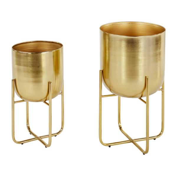 Contemporary Style Large Round Indoor/Outdoor Metallic Gold Metal Planters in Gold Stands (Set of 2)