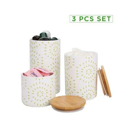 3-Piece Small, Medium, Large Ceramic Canister Set with Lids, Green
