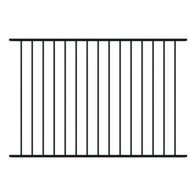 Newtown 4 ft. H x 6 ft. W Black Aluminum Pre-Assembled Fence Panel
