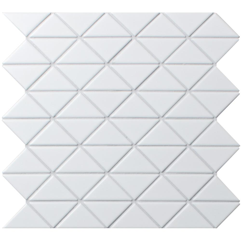 Merola Tile Tre Jag Matte White 10 in. x 10-1/4 in. x 6mm Porcelain Mosaic Tile