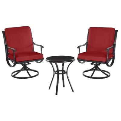 Redwood Valley Black 3-Piece Steel Outdoor Patio Bistro Set with CushionGuard Chili Red Cushions