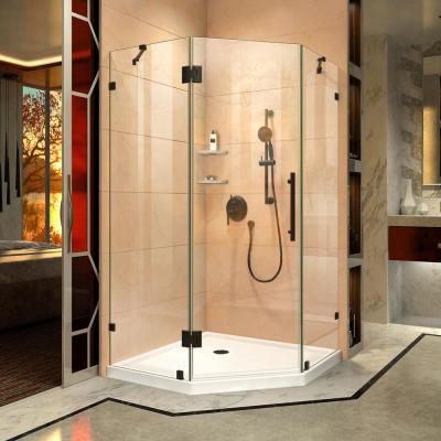 Prism Lux 36-5/16 in. x 36-5/16 in. x 72 in. Frameless Hinged Shower Enclosure in Satin Black
