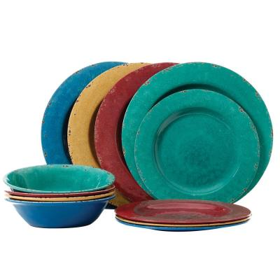 Mauna 12-Piece Casual Assorted colors Melamine Outdoor Dinnerware Set (Service for 4)