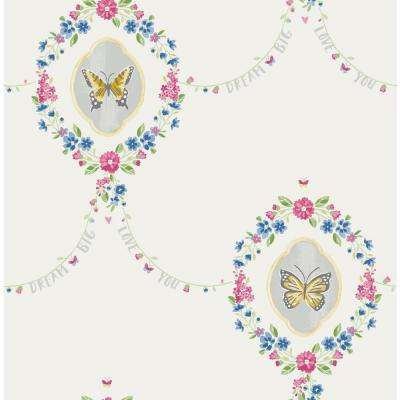 Kids Flutter Gold, Glitter White and Metallic Silver Butterfly Wallpaper