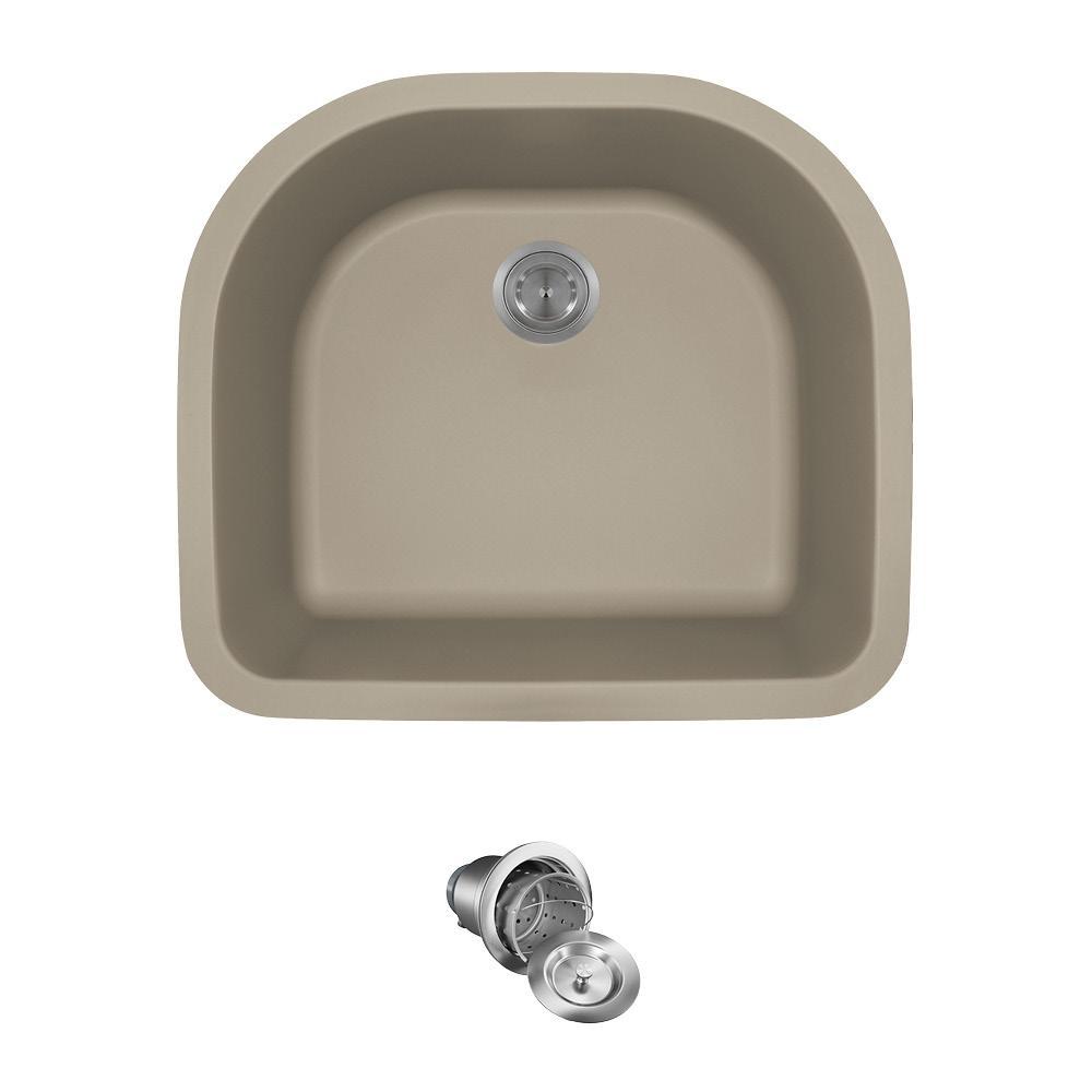 All-in-One Undermount Quartz 24.75 in. 0-Hole Single Bowl Kitchen Sink in Slate