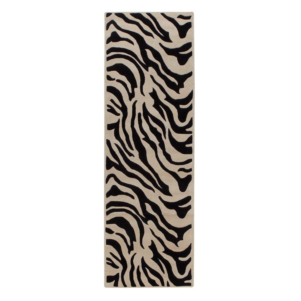 Zebra Black 3 ft. x 10 ft. Runner Rug