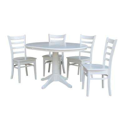 Olivia 5-Piece White Oval Dining Set with Emily Chairs