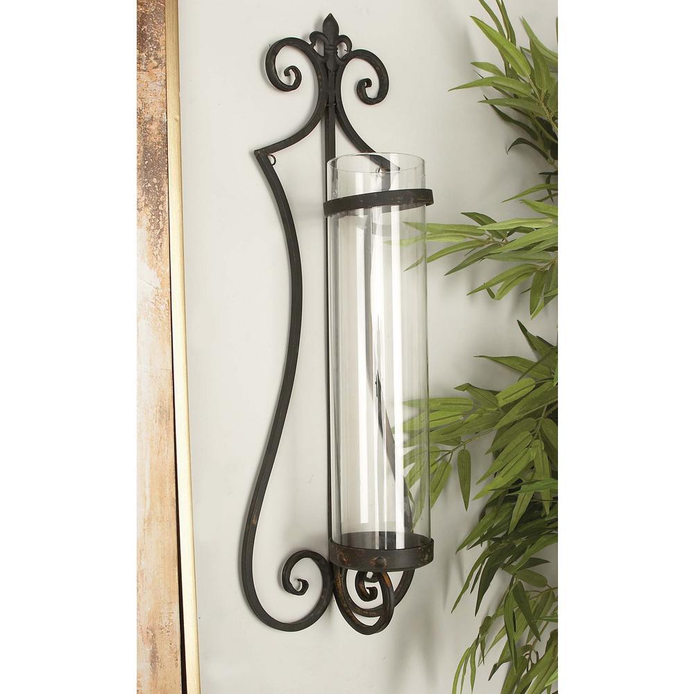 Litton Lane Classic Iron and Glass Wall Candle Lantern 68751