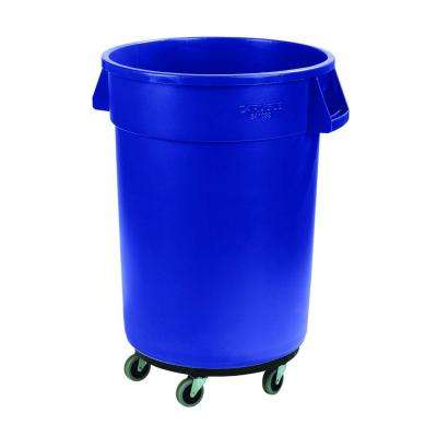 Bronco 32 Gal. Blue Round Trash Can with Dolly (4-Pack)