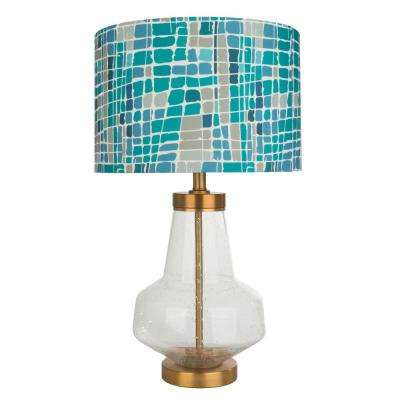 Kris Ruff 24 in. Blue Table Lamp with Glass Base