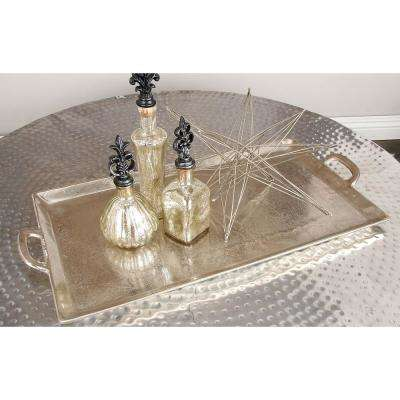42 in. x 14 in. Round Hammered Aluminum Metallic Silver Coffee Table